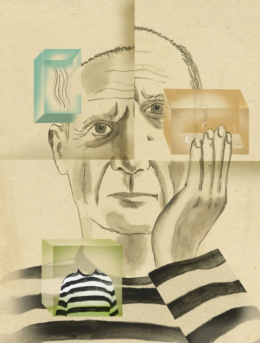 "Pablo Picasso en ""Recipes for Good Luck: The Superstitions, Rituals, and Practices of Extraordinary People"". Ilustración: Ellen Weinstein"