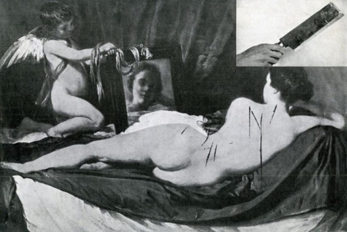 La obra de Velásquez acuchillada. Fotografía: Daily Art Magazine