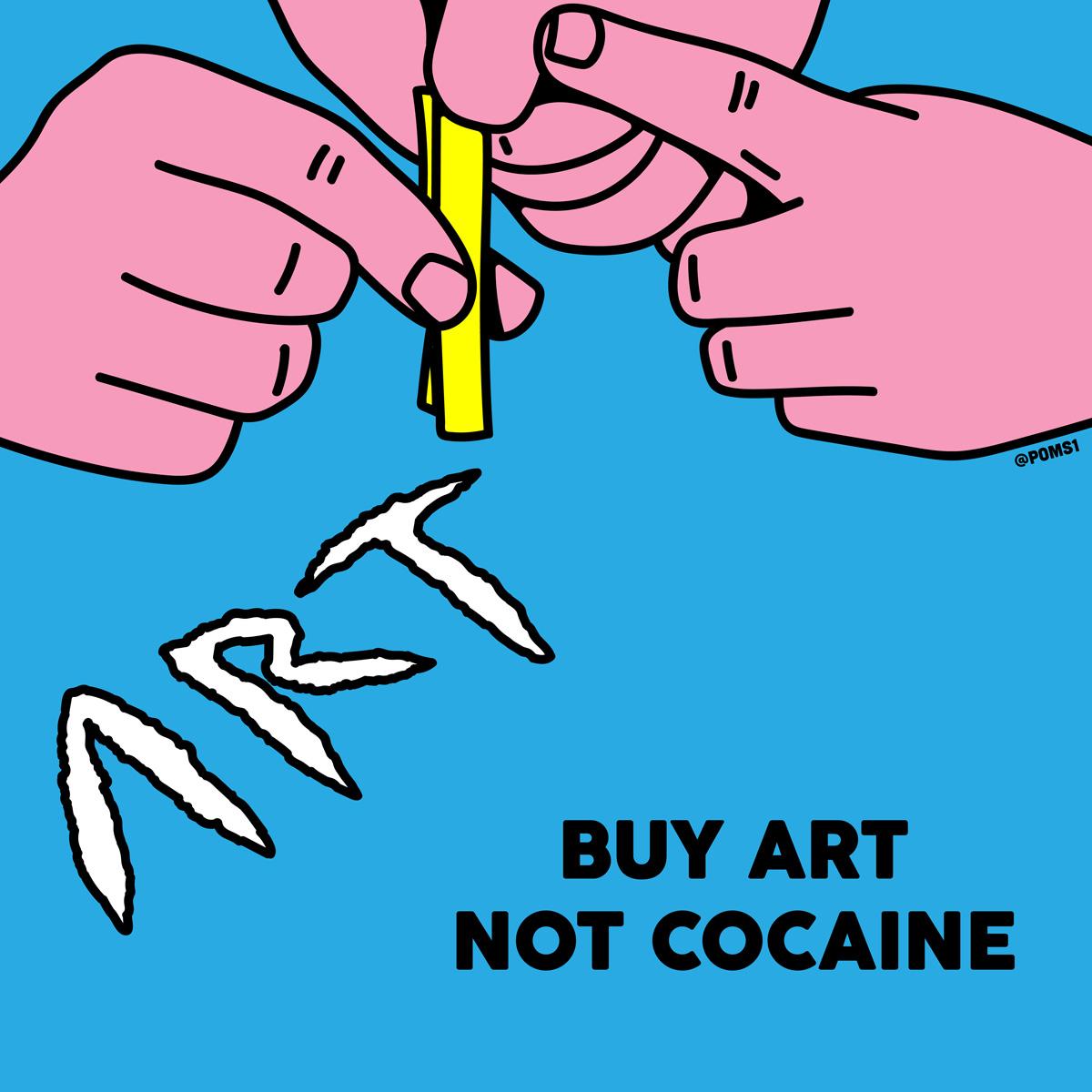 """""""Buy Art"""". Ilustración: Poms"""