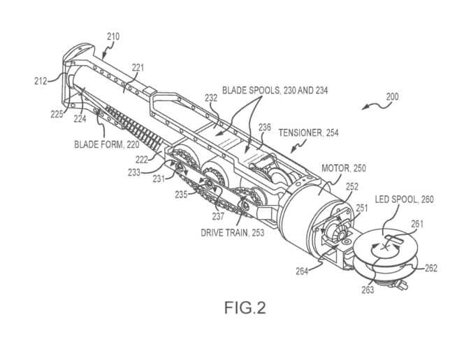 """Imágenes de la patente de Disney para un sable de luz"""" en 2017. Fotografía: Collider"""