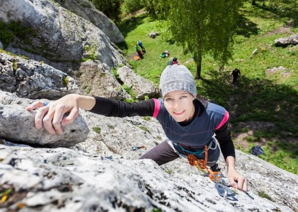Happy Rock Climbing Women