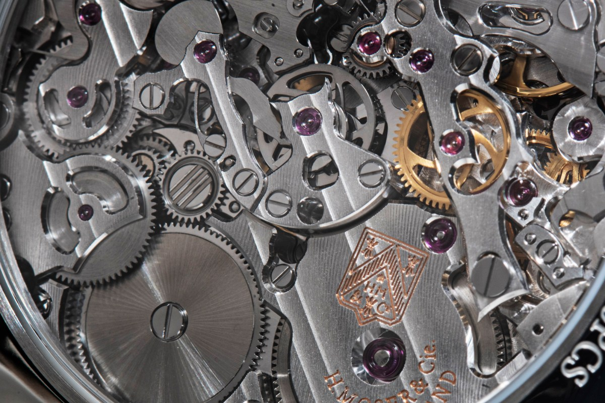 H Moser & Cie Streamliner Flyback Chronograph movement close up