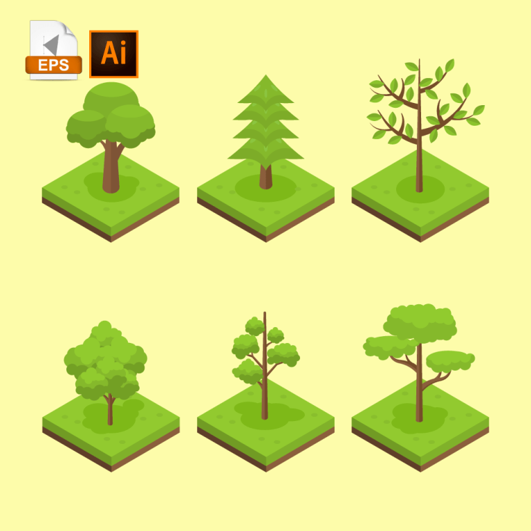 Assortment of various isometric types of trees, such as pine, maple, poplar, elm.