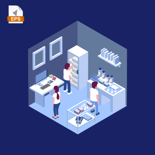 Isometric design of three people working together in a chemistry laboratory