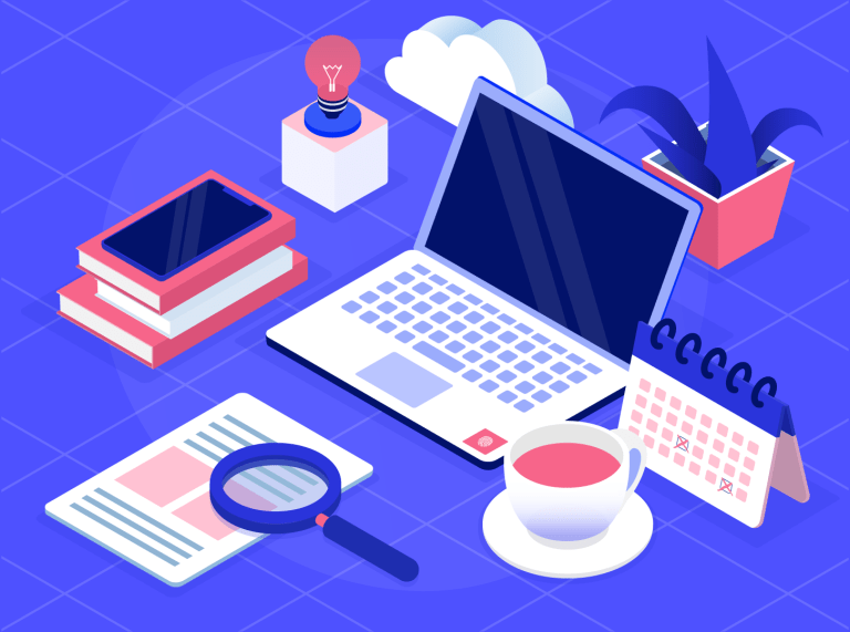 Modern desk in isometric view