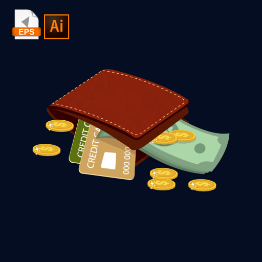 Isometric wallet made of leather, containing credit cards, cash and coins.