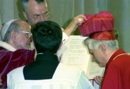 Paul VI cardinal's hat to Ratzinger