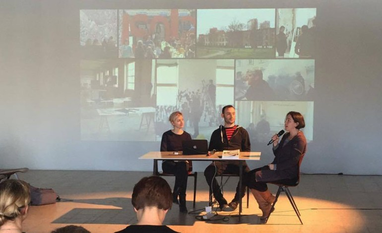 "Presentation of ""Fight-Specific Isola"" - ""Isola Utopia"" at First Warsaw Patainstitutional Convention. — with Edith Poirier, Daniele Rossi and Aria Spinelli."