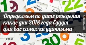Определяем подате рождения какие дни 2018 года будут для вас самыми удачными