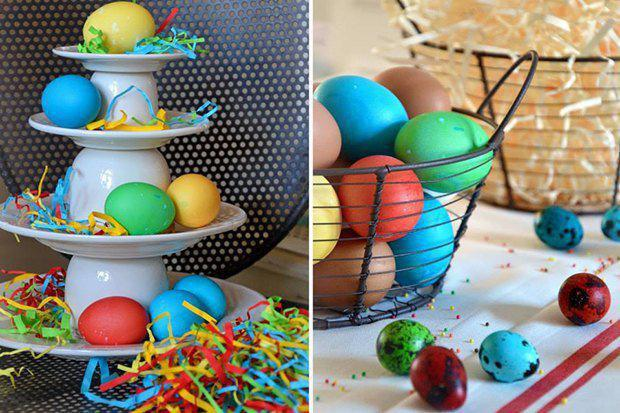2-2-easter-table-setting-ideas-table-decoration-bright-for-kids-yellow-green-red-dyed-eggs-egg-basket-serving-plate   4 идеи оформления Пасхального стола в различных стилях