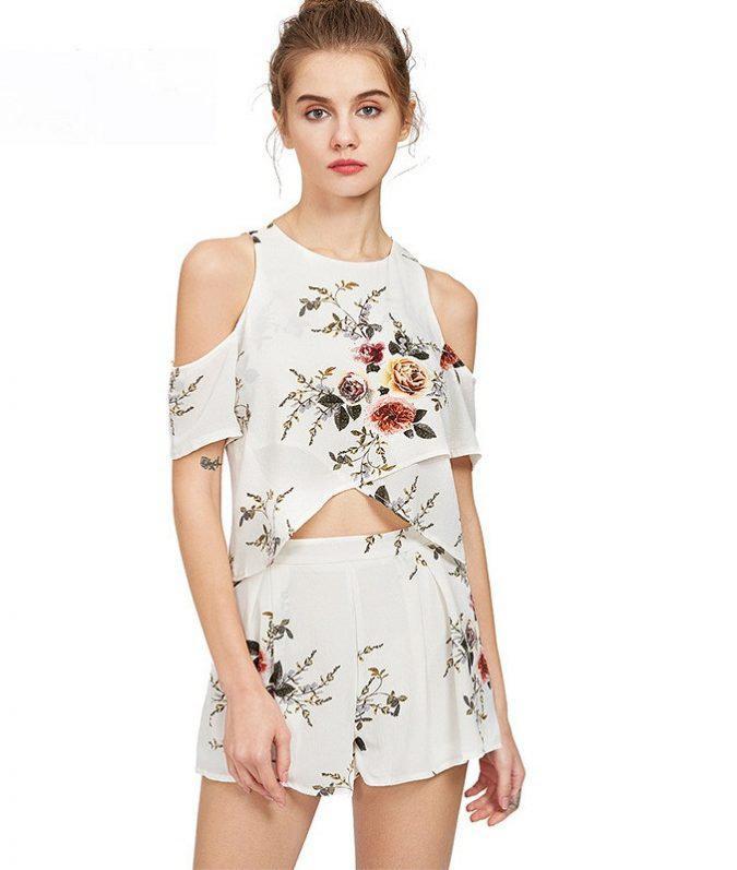 2-pieces-outfit-chiffon-off-shoulder-crop-top-short-pants-women-outfit-675x797 | 10 прекрасных идей нарядов весны и лета 2018