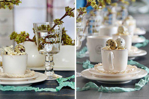 4-easter-table-setting-ideas-table-decoration-elegant-sophisticated-crystal-glass-cup-egg-holders-napkins-turquoise-branches   4 идеи оформления Пасхального стола в различных стилях