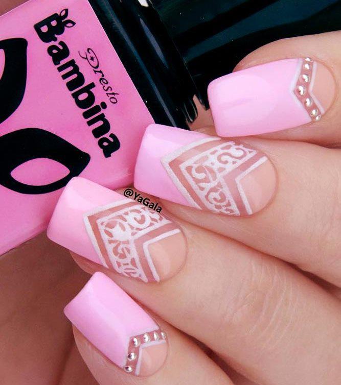 image21-20   36 вариантов стильного маникюра в модном розовом цвете «Дитя заката»