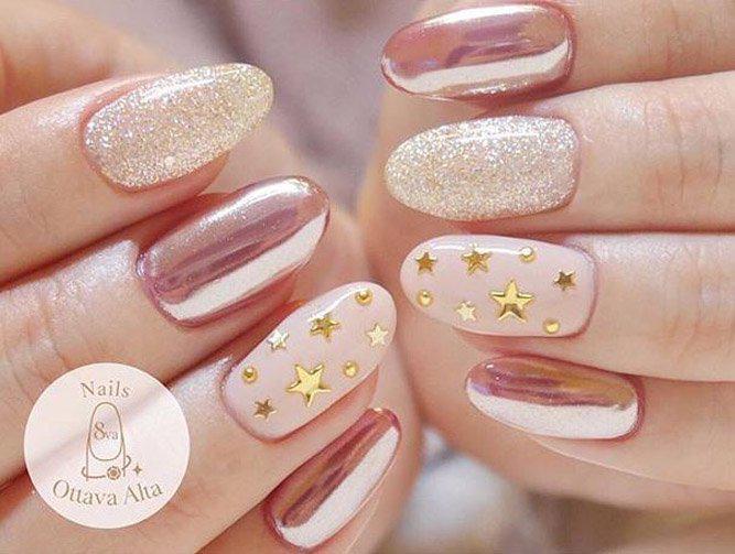 image33-9   36 вариантов стильного маникюра в модном розовом цвете «Дитя заката»