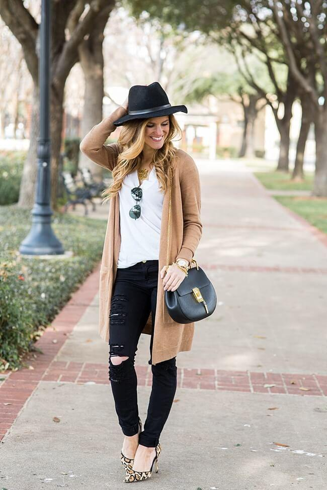 jeans-and-t-shirt-and-long-cardigan-women-summer-outfit-2 | 10 прекрасных идей нарядов весны и лета 2018