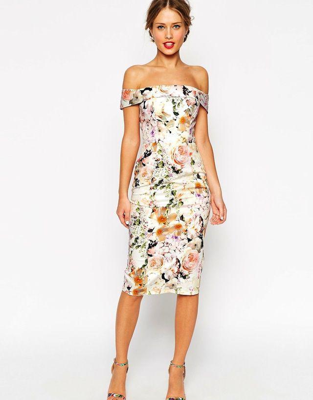 off-shoulder-floral-cocktail-dress-women-summer-outfit | 10 прекрасных идей нарядов весны и лета 2018