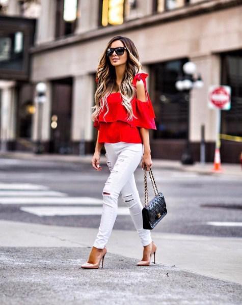 image10-4 | Как стильно носить красные блузки и рубашки летом и осенью 2018: 20 стильных идей