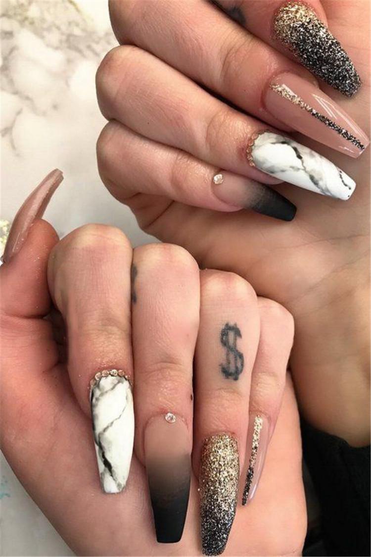 image11-14 | Блестящие идеи тёмного маникюра на длинные ногти