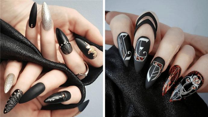 Черный маникюр на ногти-стилеты