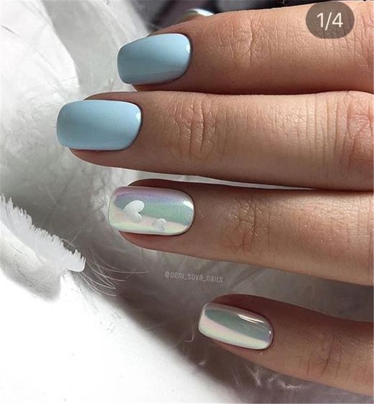 image9-6 | Нежно-голубой маникюр на короткие квадратные ногти