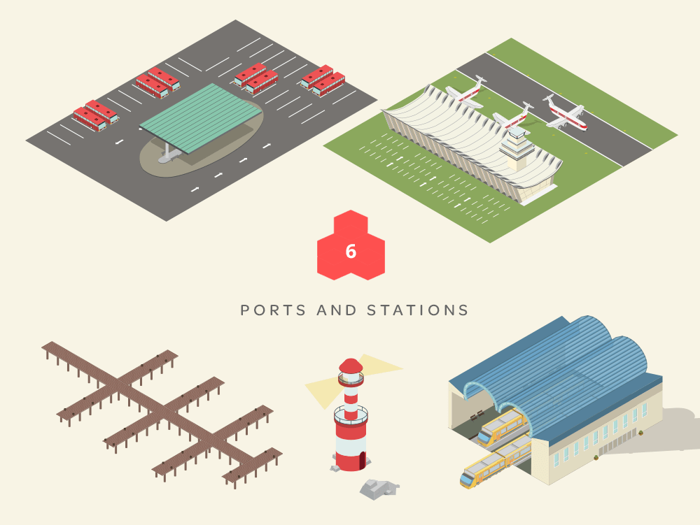 isometric maps ports and stations