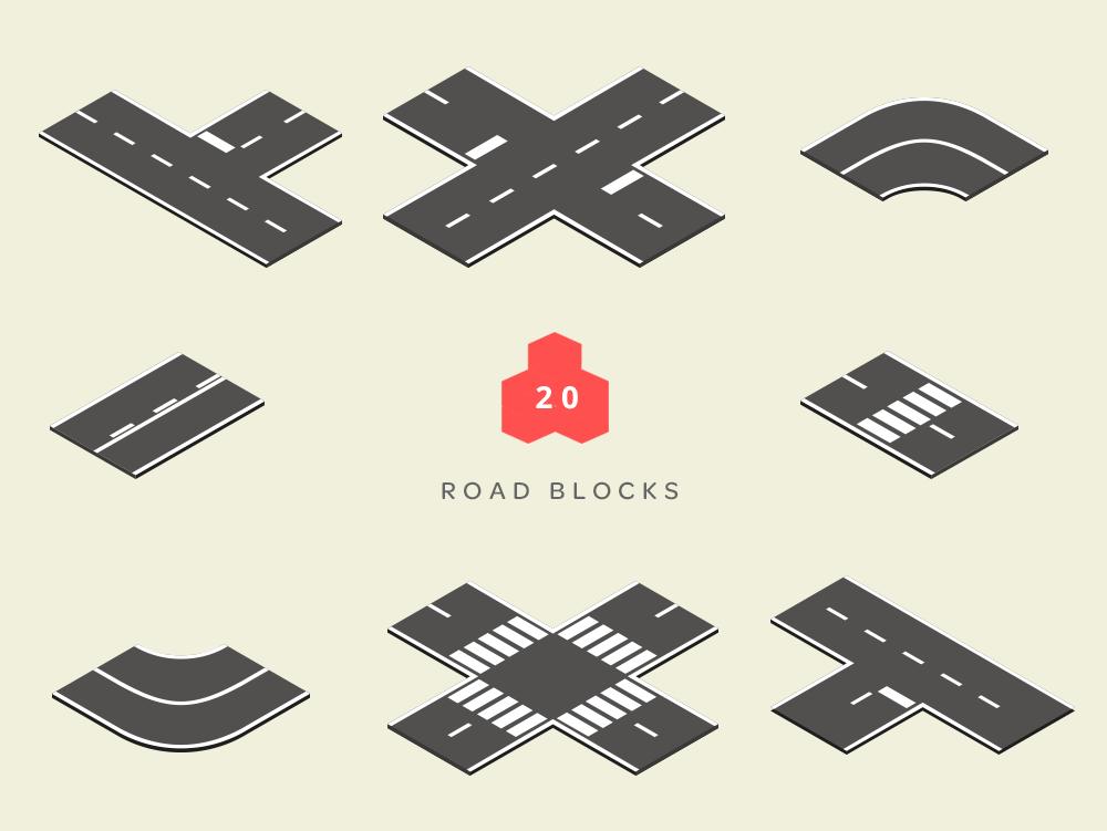 isometric road blocks