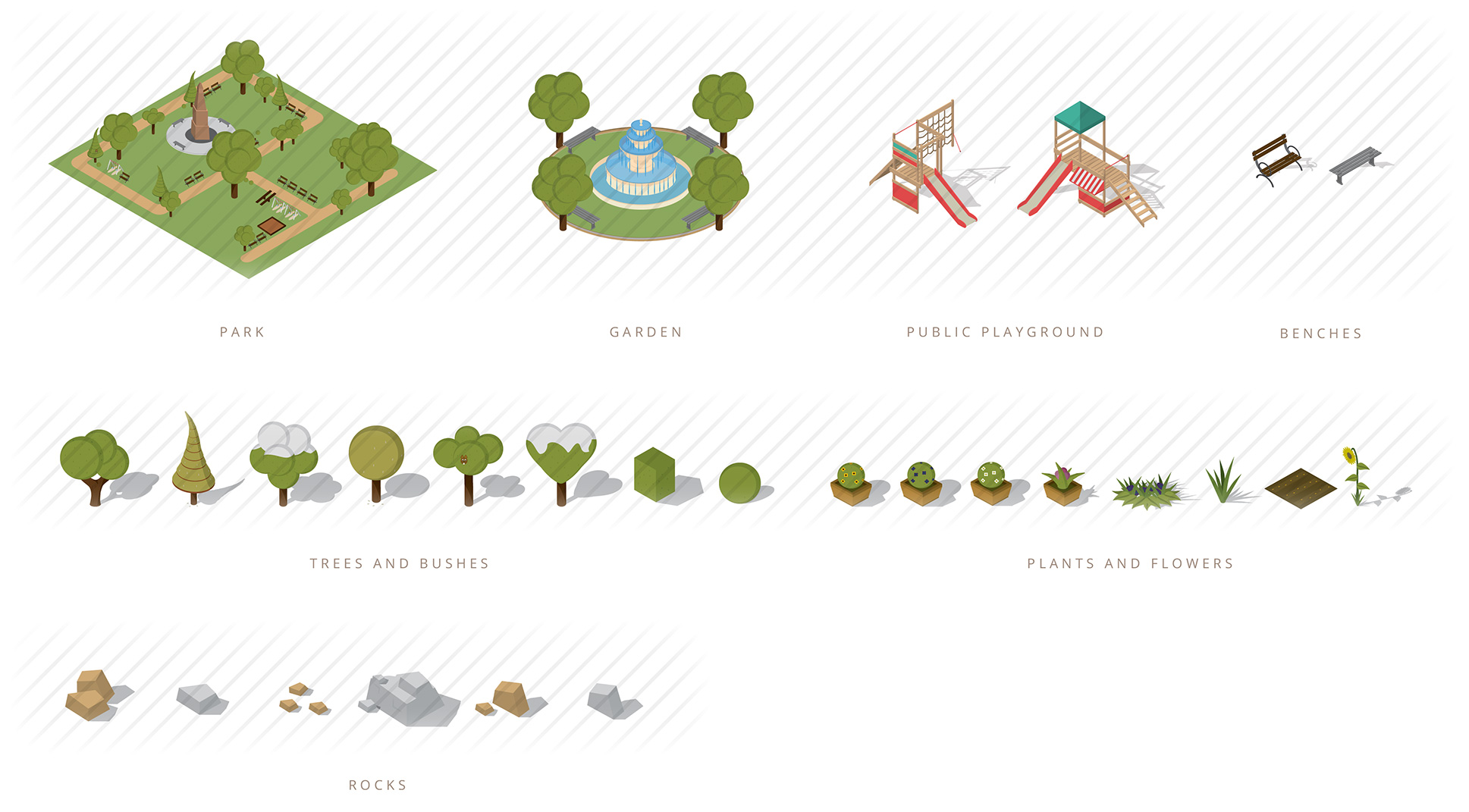 isometric gardens and trees