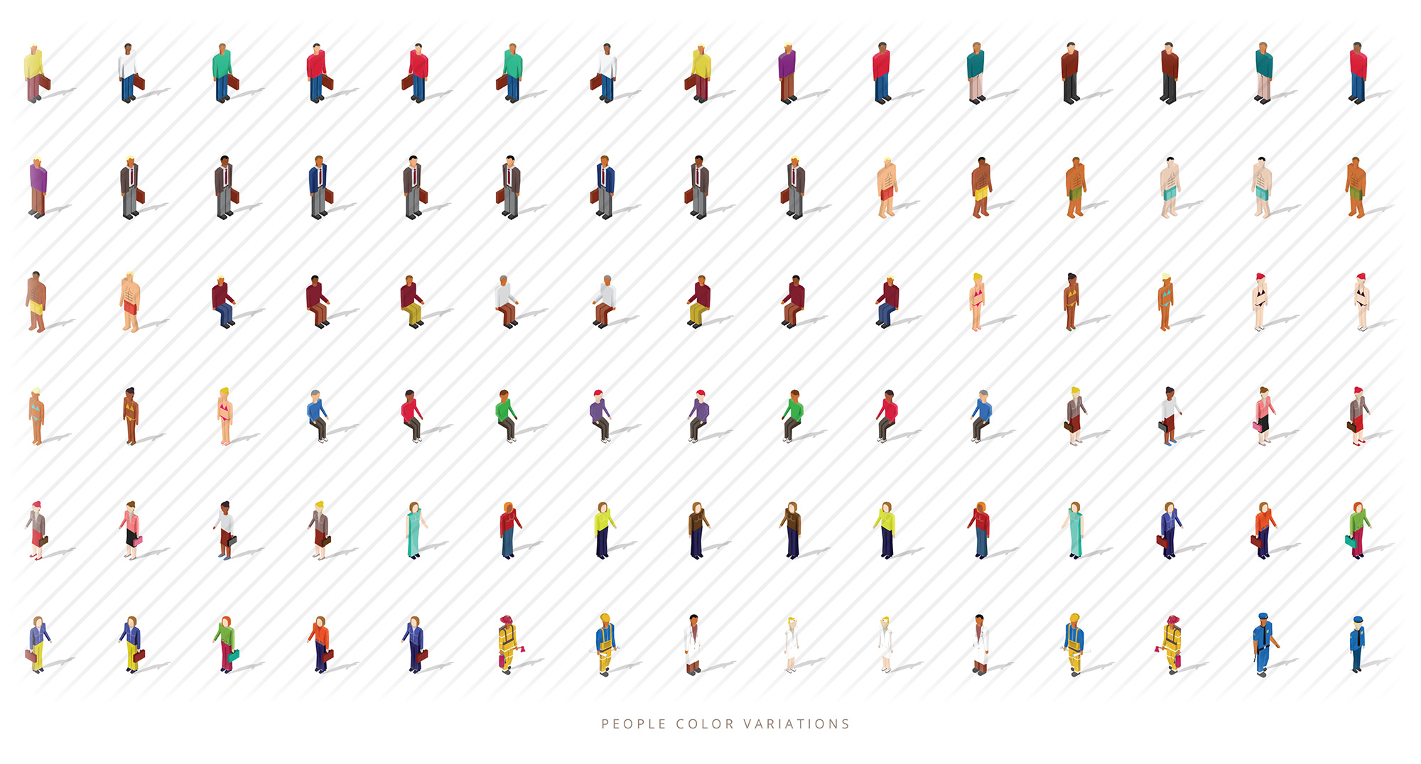 isometric people colors