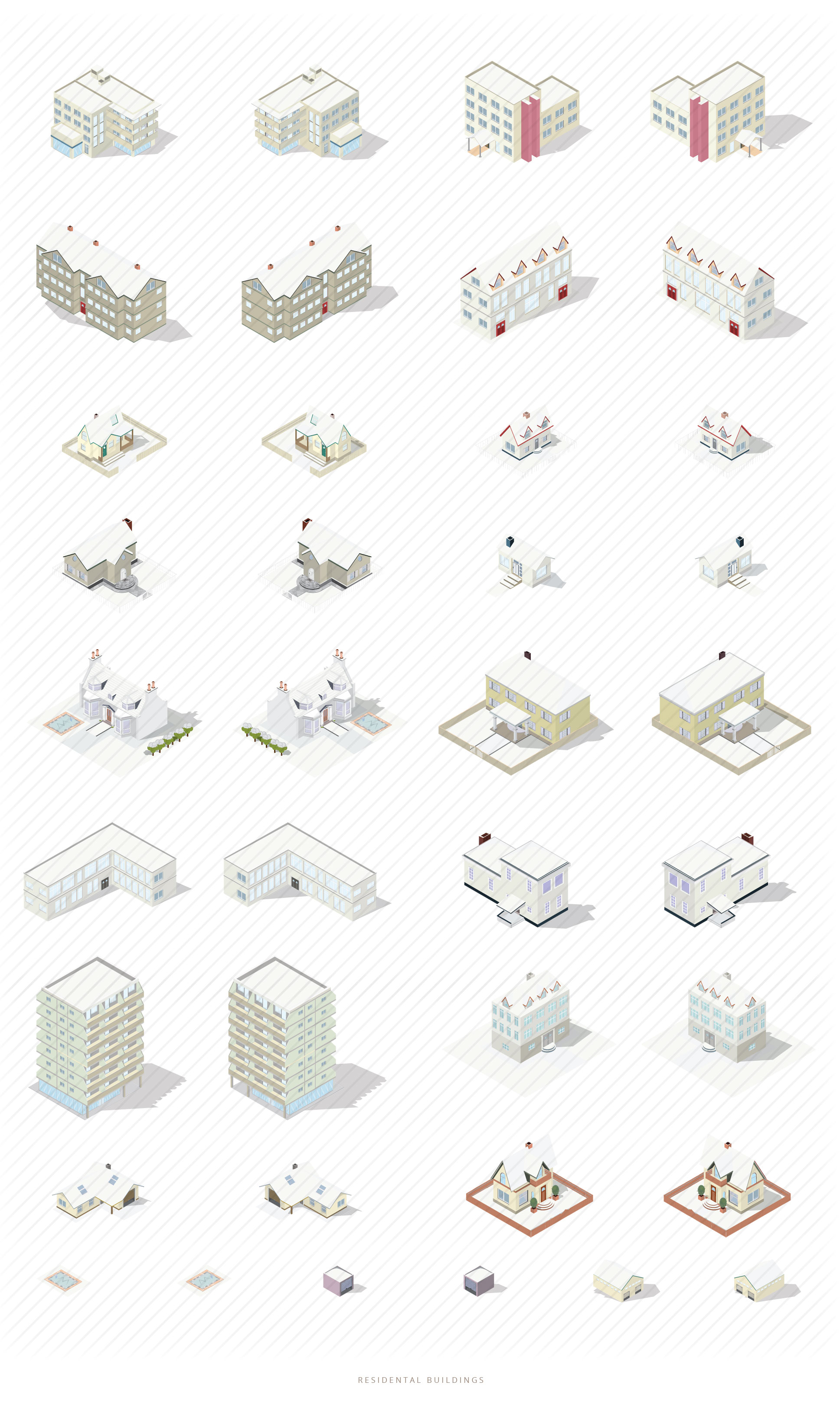isometric snow covered buildings