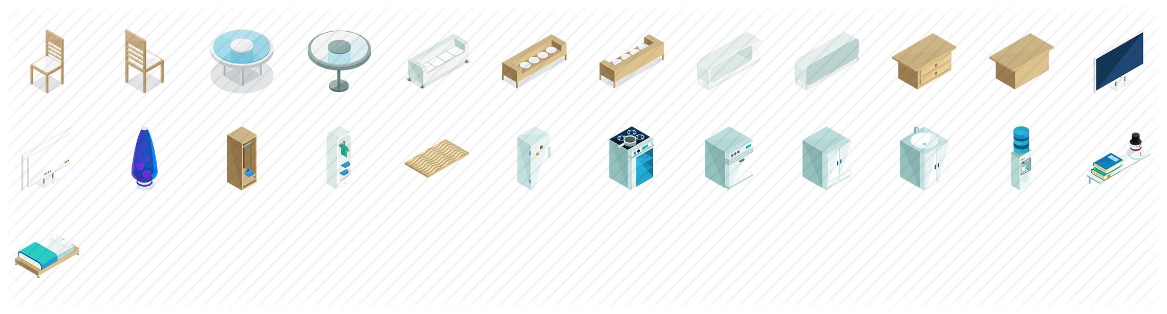 Furniture Isometric Icons