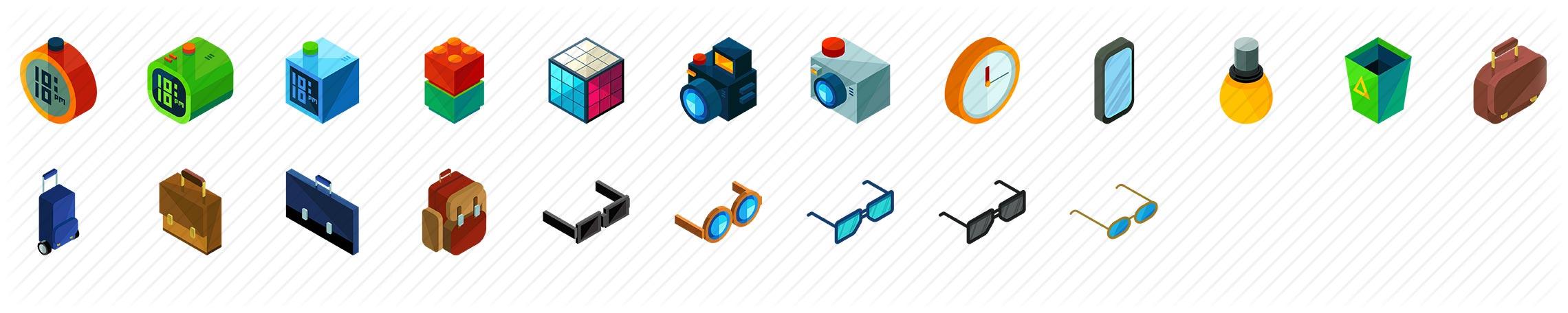 Interior Accessories Isometric Icons