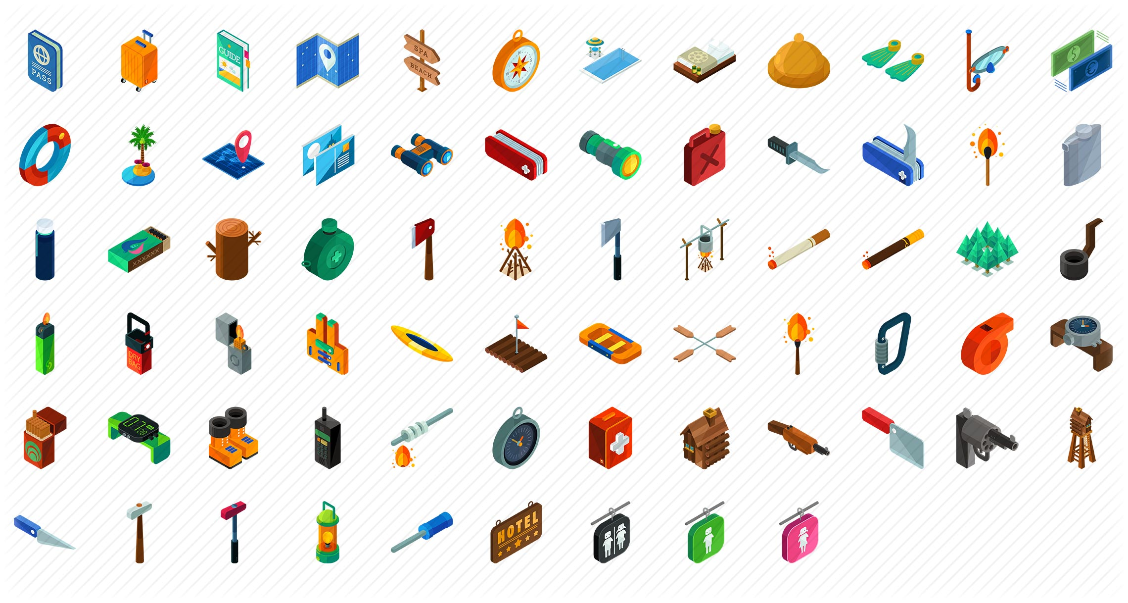 Travel and Outdoor Essentials Isometric Icons
