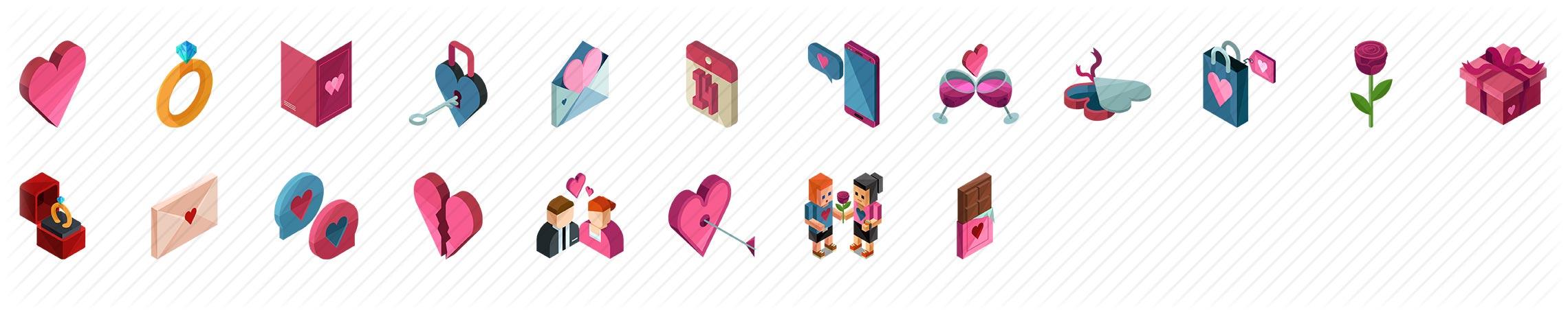 Love and Valentine Isometric Icons