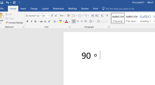 How to insert the degree symbol on Windows 10