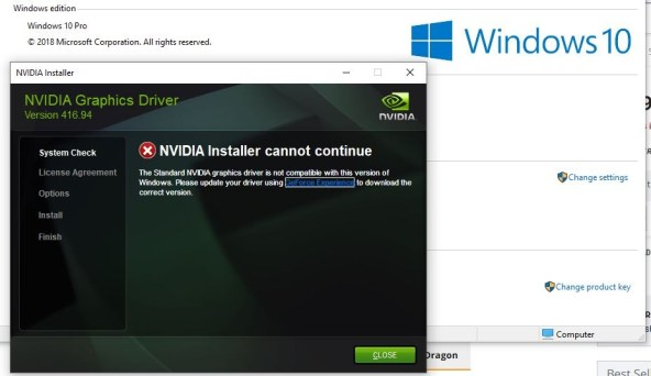 What are the problems NVIDIA driver issue after windows 10 update