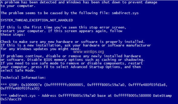 System Thread Exception Not Handled Blue Screen Error