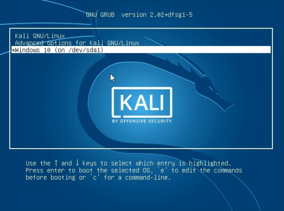 How do i.dual boot windows 10 with kali linux