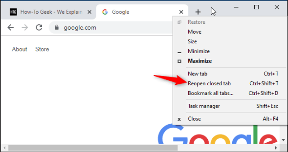 Restoring closed tabs - Google Chrome Community