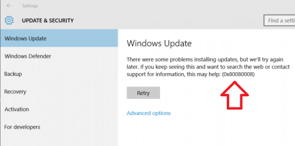 How to fix update error 0x80080008 on Windows 10