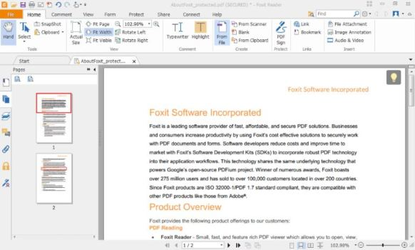 You can download Foxit PDF Reader for Windows PC