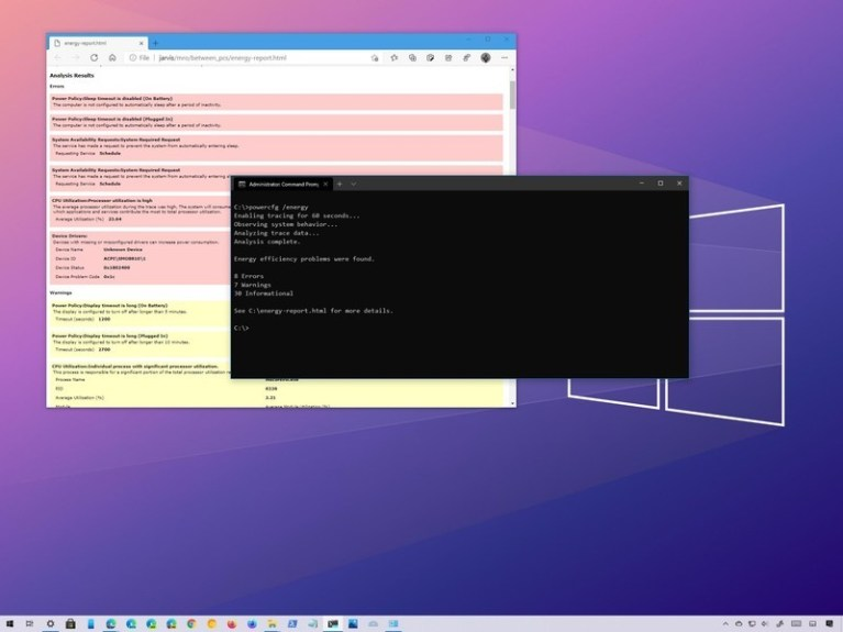 How to create energy report on Windows 10