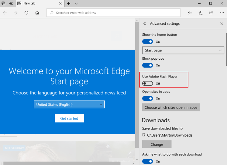 How to unblock Adobe Flash Player in Edge