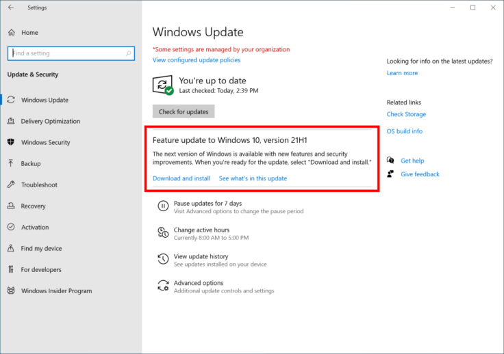 How to Install the Windows 10 v21H1 Update - Step by Step Guide 2