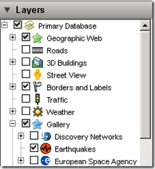 Google Earth Layers Menu