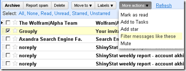 Filtering email Gmail