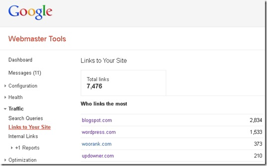 Cek backlink Google Webmaster Tools