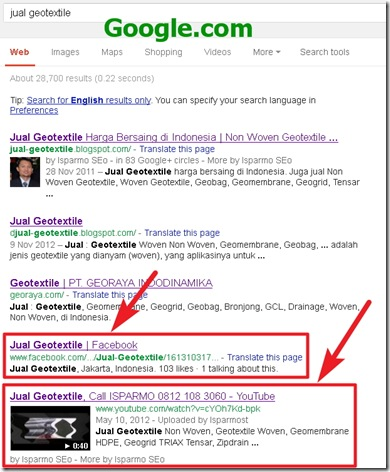 Google.com SERP - jual geotextile