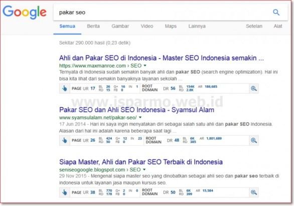 Hasil analisa UR DR Ahrefs keyword Pakar SEO