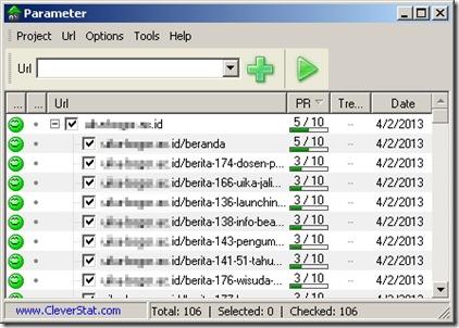 Check PageRank dengan PaRaMeter