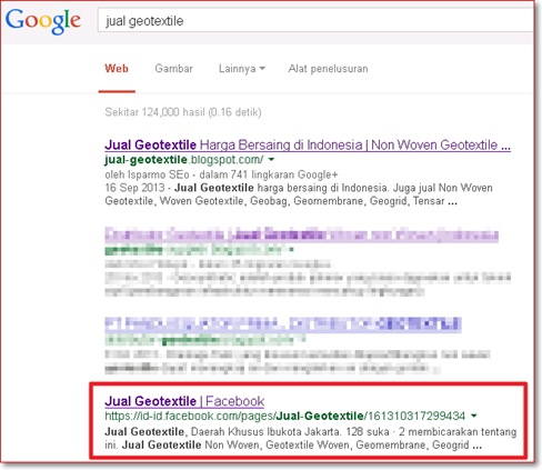 jual geotextile fanpage Facebook di Google serp
